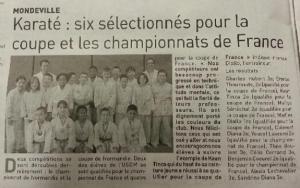Karaté : six sélectionnés pour la coupe et les championnats de France