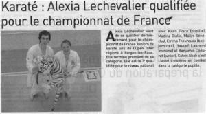 Karaté : Alexia Lechevalier qualifiée pour le championnat de France