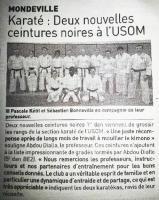 Karaté : Deux nouvelles ceintures noires à l'USOM