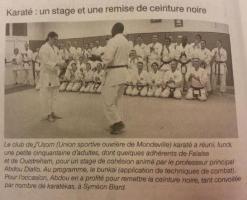 Karaté : un stage et une remise de ceinture noire