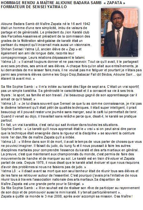 Article en hommage a Alioune Badara Samb ZAPATA